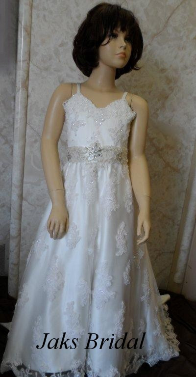 beaded lace applique flower girl dress