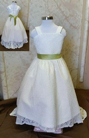 lace flower girl dresses with train