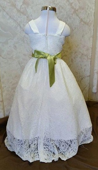 Ivory flower girl dress with mint green sash