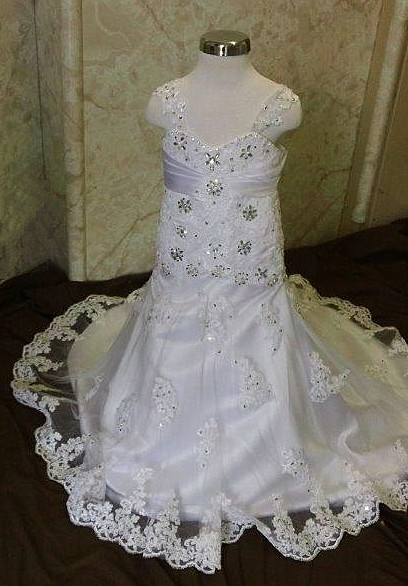 Lace and crystal flower girl dress