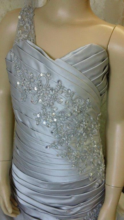 silver one shoulder pickup dress