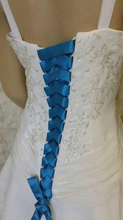 white dress with tiffany blue corset lace up