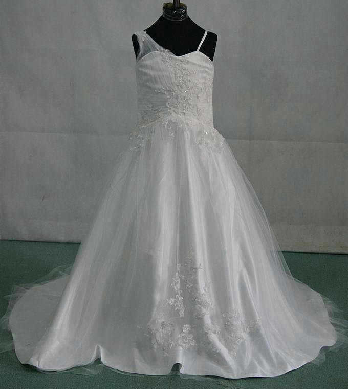 satin and tulle miniature wedding gown