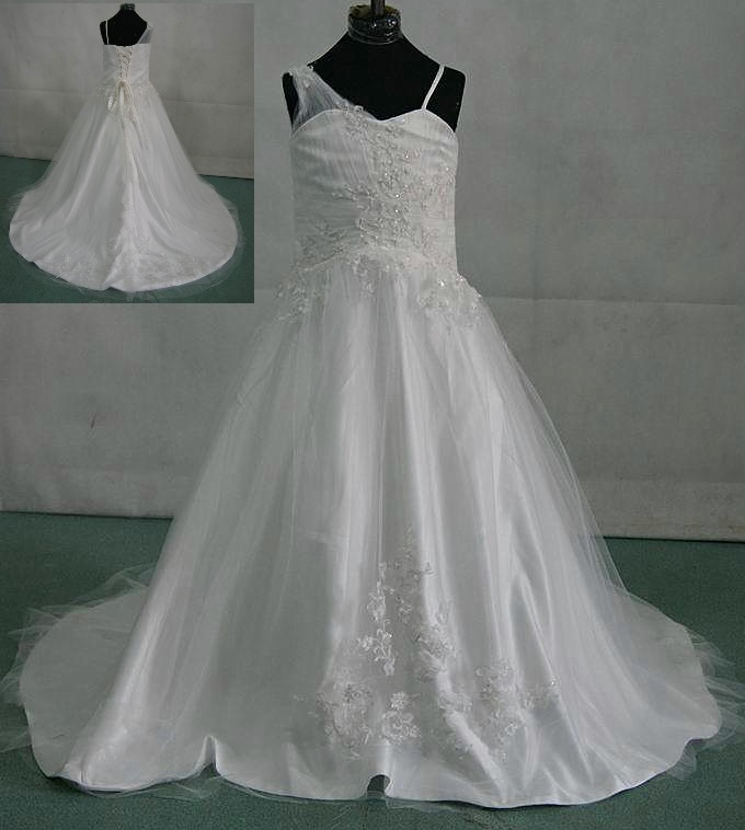 One sheer shoulder Long tulle miniature wedding dress