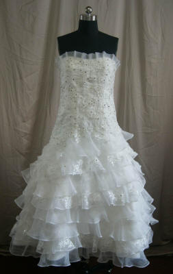 Tiered Ball Gown with Beaded Lace Appliques