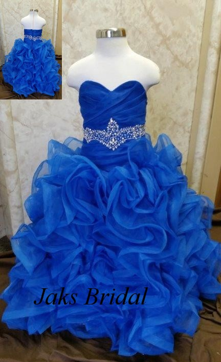 royal blue ruffled flower girl dress