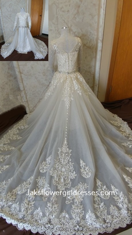 long sleeve lace flower girl dress with elegant detachable train