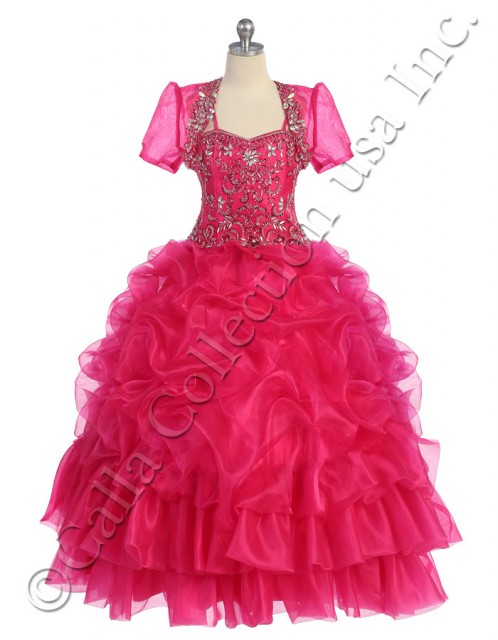 organza ruffle pageant dress
