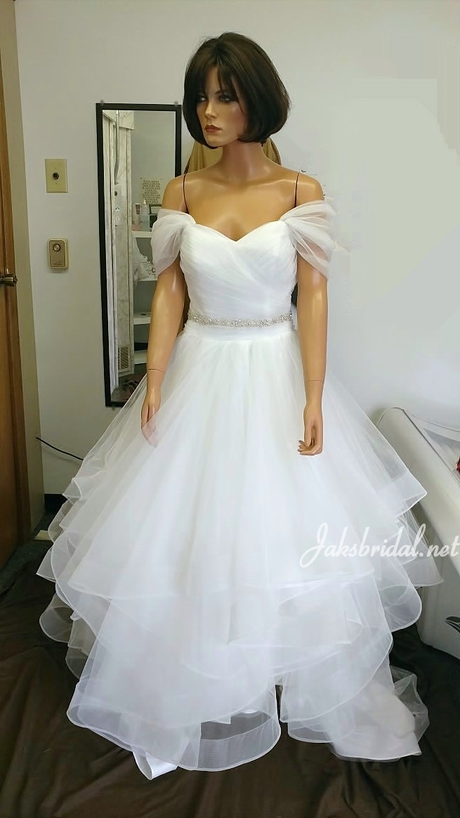 Soft off shoulder wedding dress with layered horsehair skirt