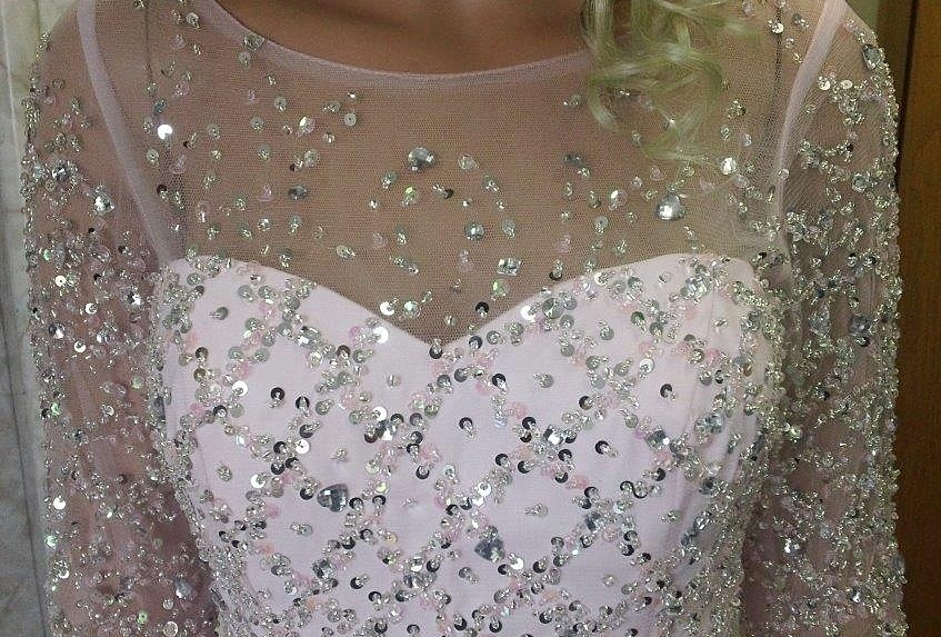 beaded illusion neckline and sleeves