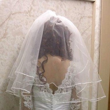 Short two layer wedding veil