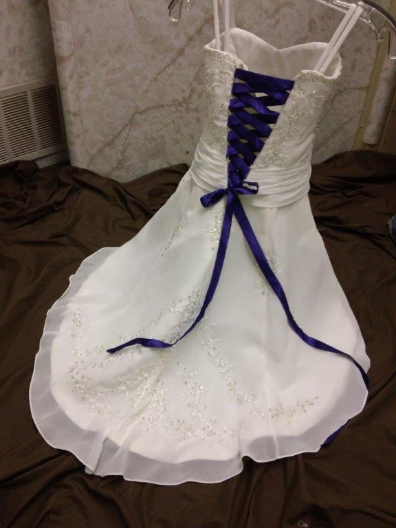 white flower girl dress with blue corset lace up