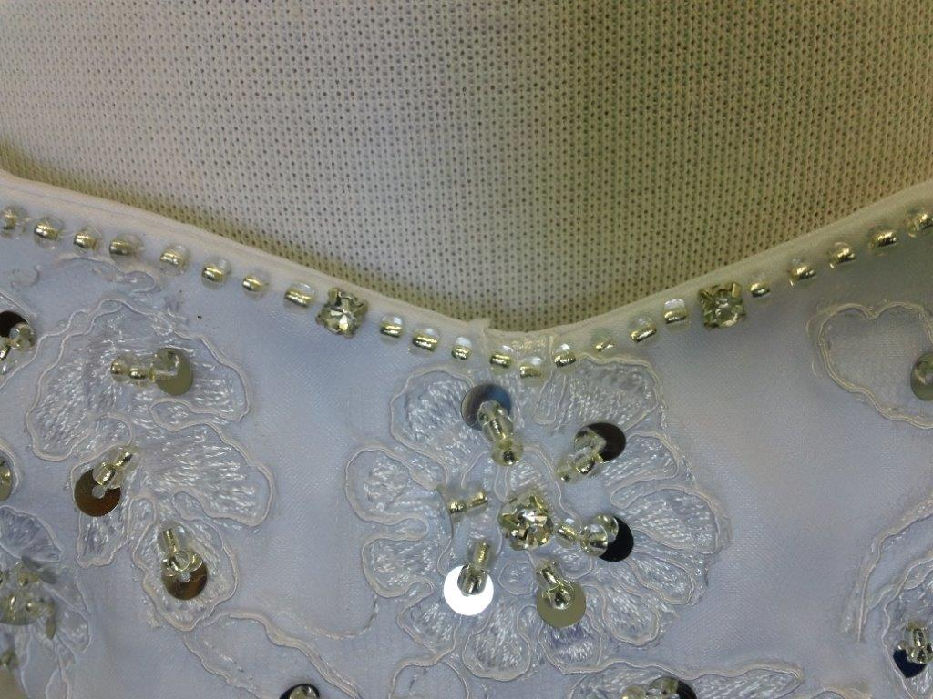 rhinestone, sequin, beaded lace flower applique