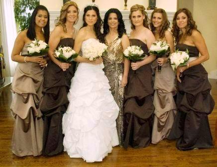bridesmaids dresses in browns