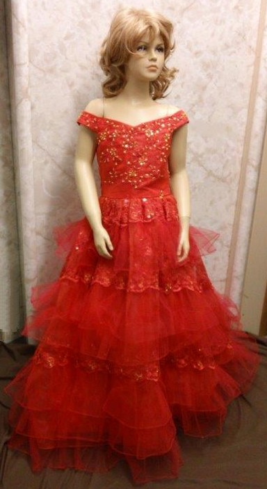 red and gold girls pageant dress