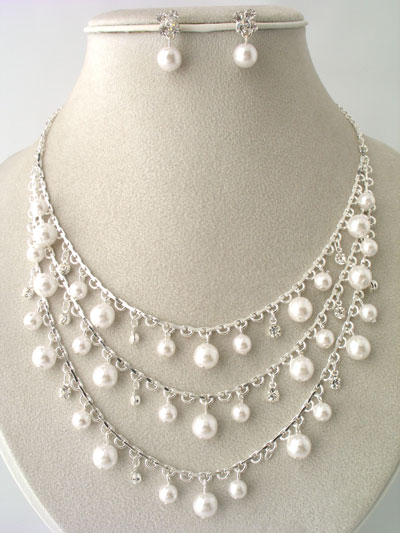 Faux Pearl and Rhinestone