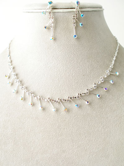 rhineston necklace set