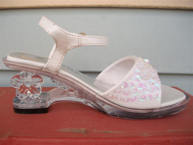 clear flower cutout on heal of shoe
