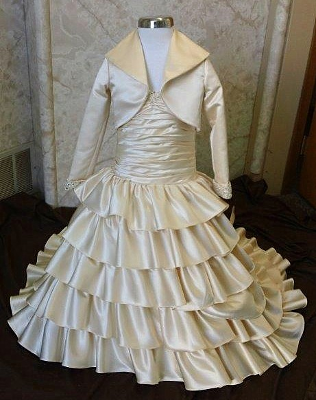 flower girl pleated dress with layered ruffles
