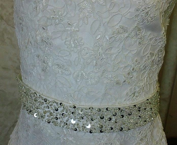 lace applique dress with sewn in jewel waist