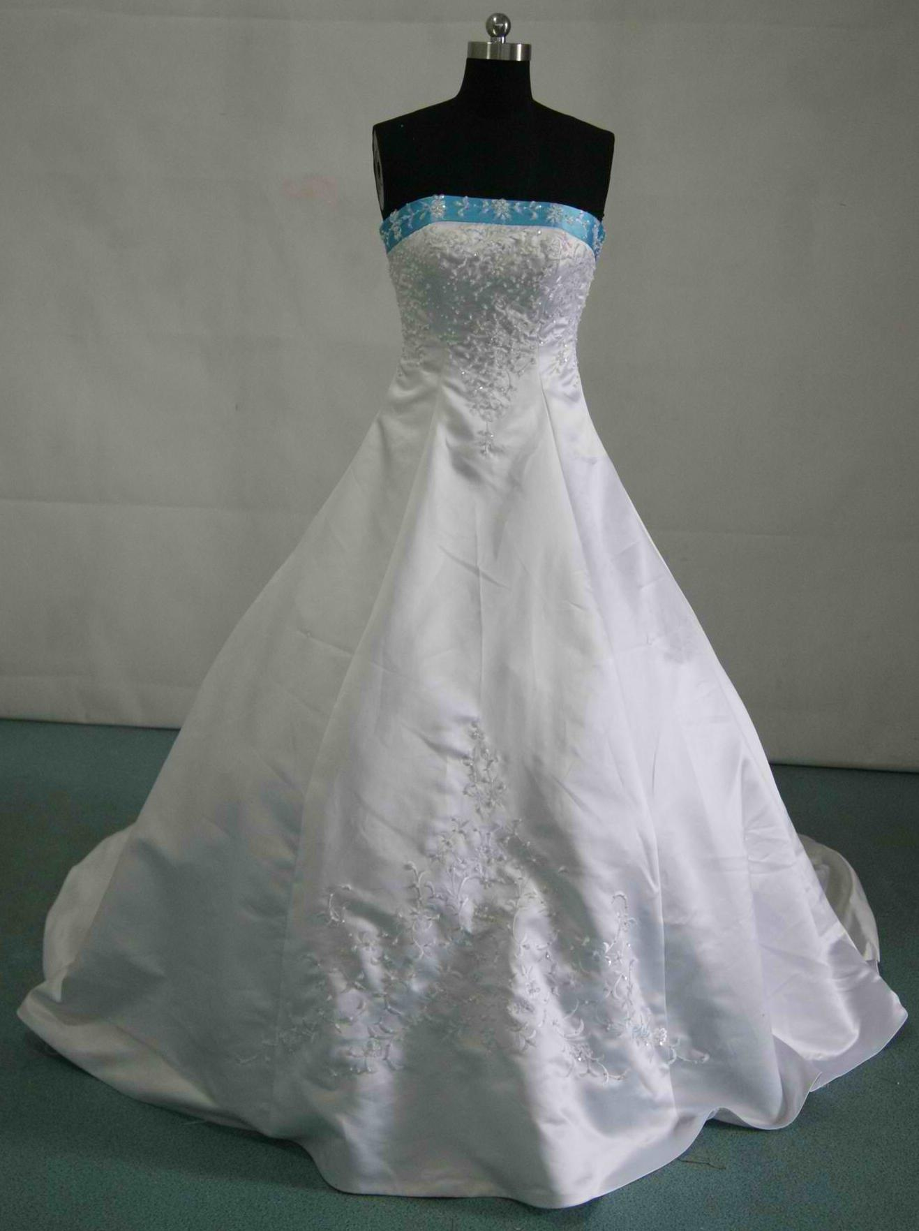 white and pool blue wedding gown