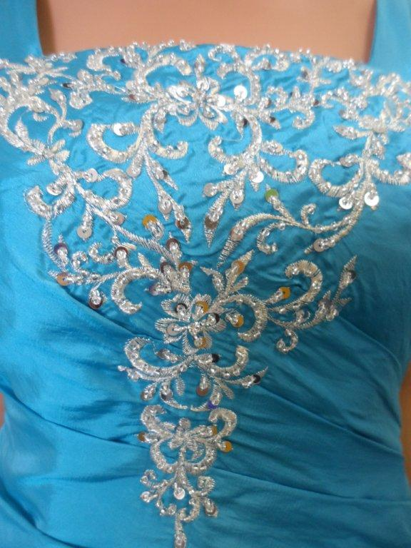 peacock blue bodice with silver sequin embroidery