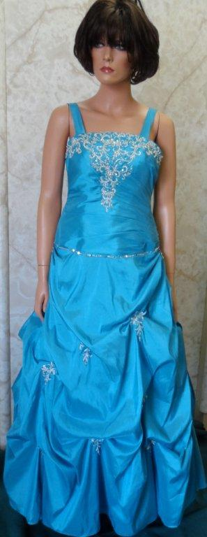 Long peacock blue prom gown