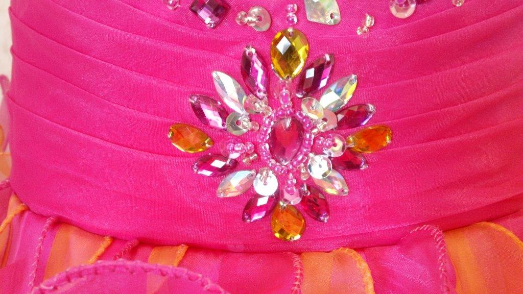 Fuschia/orange beaded pageant dress