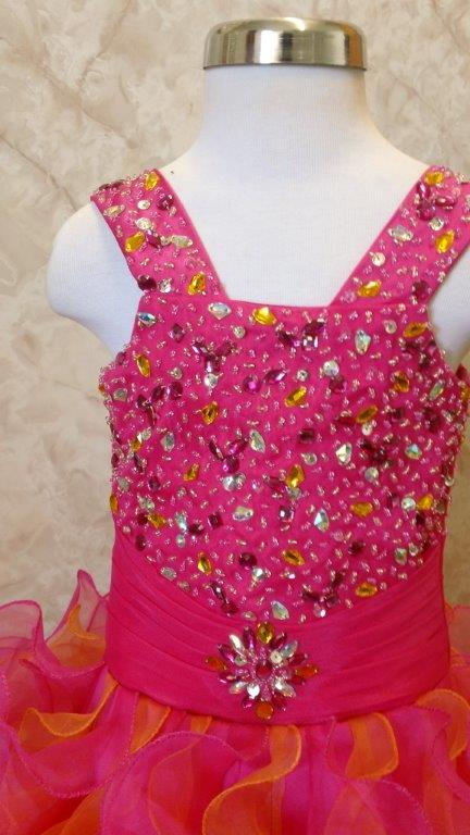 Fuschia/orange pageant dress