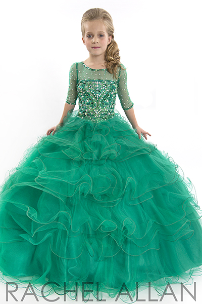 Emerald green girls pageant dresses with 3/4 length sleeves