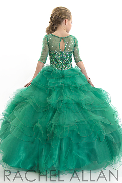 Emerald green key hole back pageant dress