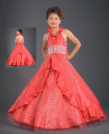 beaded girls pageant dress