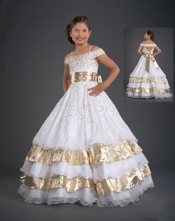 White pageant dress with gold accent