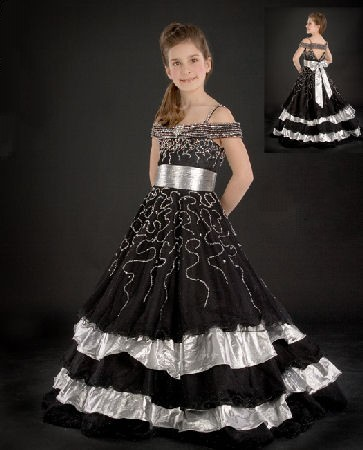black silver pageant ball gown