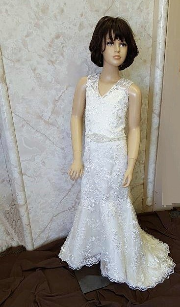 Lace applique gown with beaded sash