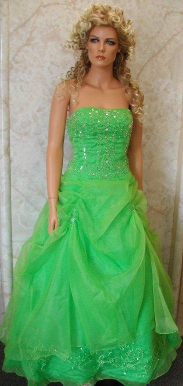 lime and silver prom dress