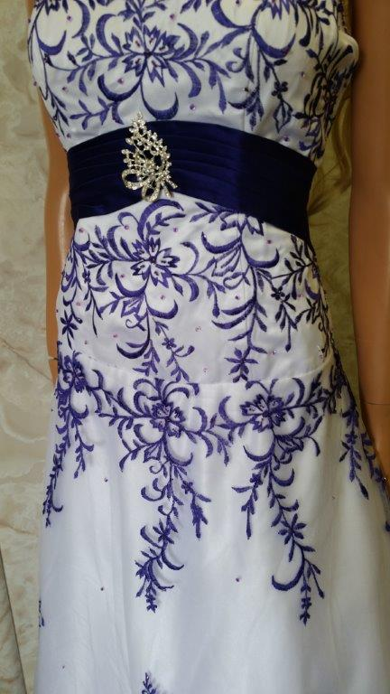 white purple embroidered wedding dress