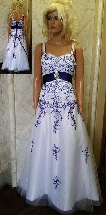 white purple embroidered prom dress
