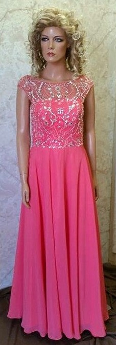 Beaded illusion prom dress