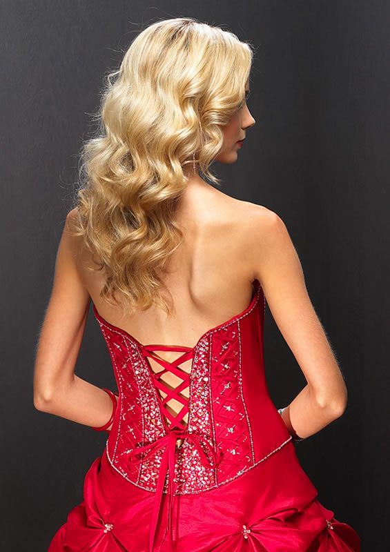 red corset dress back