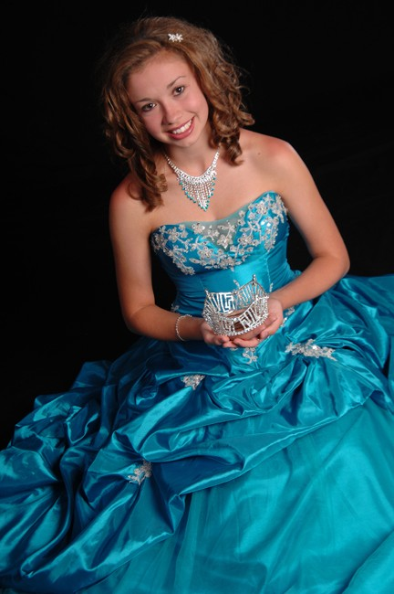 strapless blue evening ballroom gown