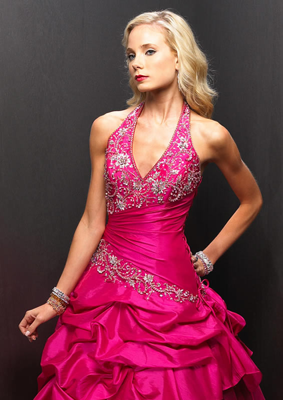 Pink Halter ruched ballroom gown