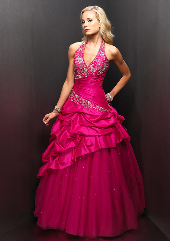 Raspberry Halter ruched ballroom gown