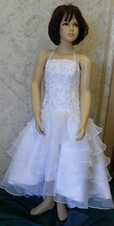 white and silver tiered ball gown