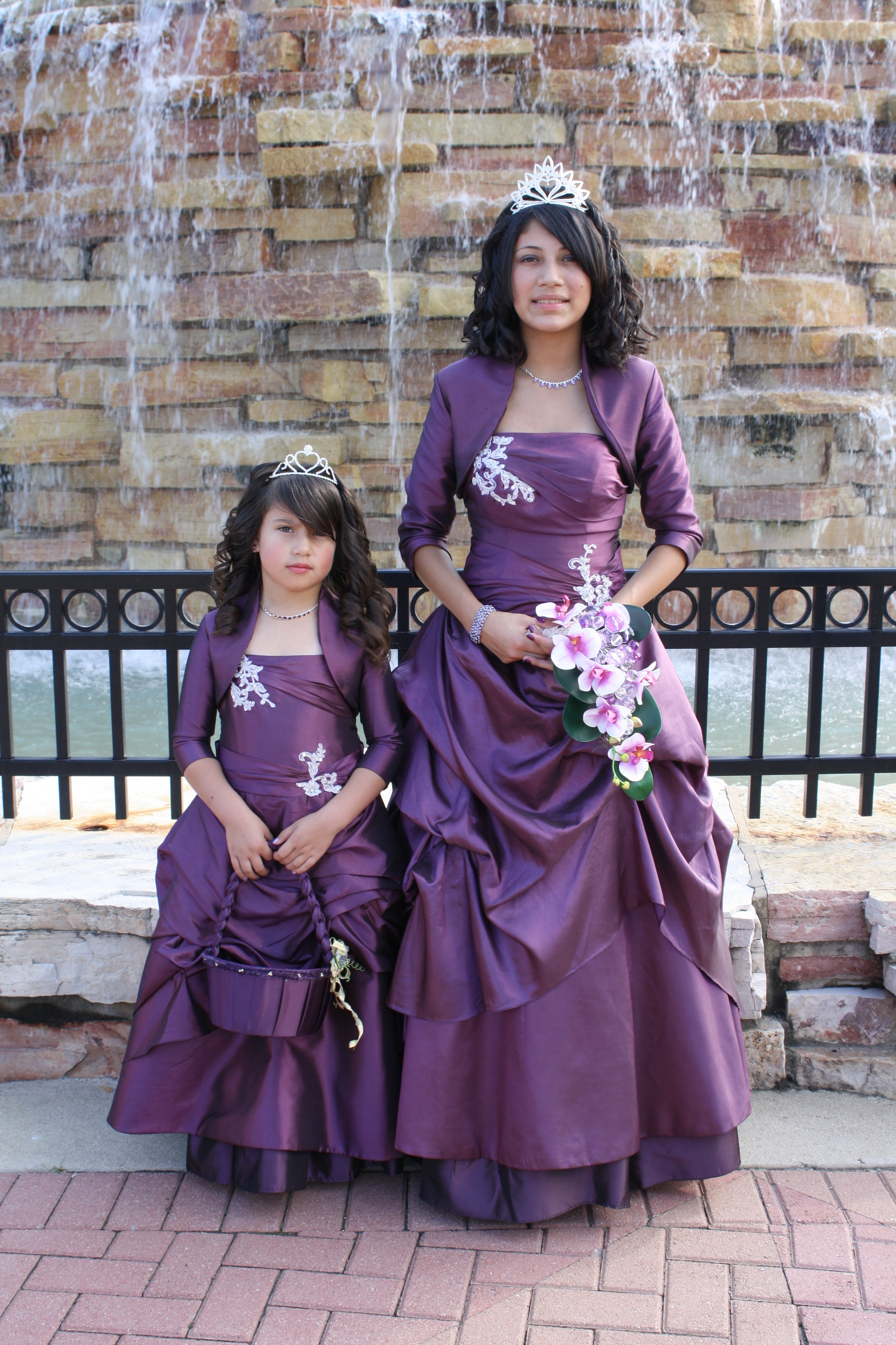 Quinceanera dress with matching little sister dress