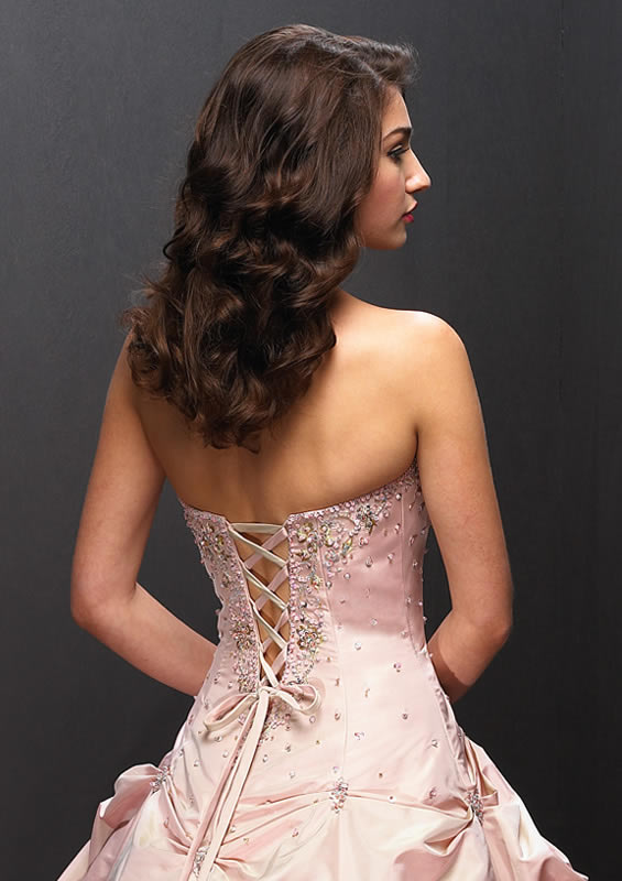 pink corset back ball gown
