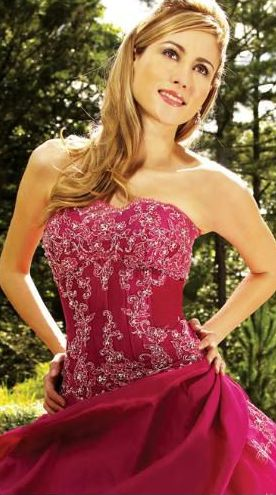 fuchsia strapless quinceanera dress