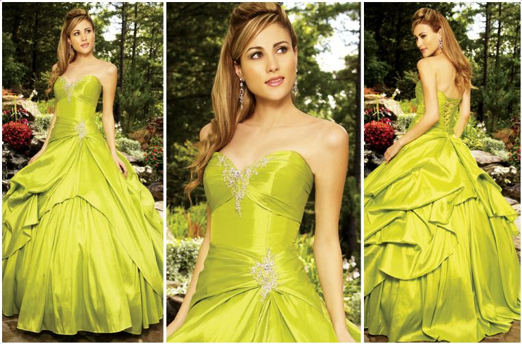 sweetheart green quinceanera gown