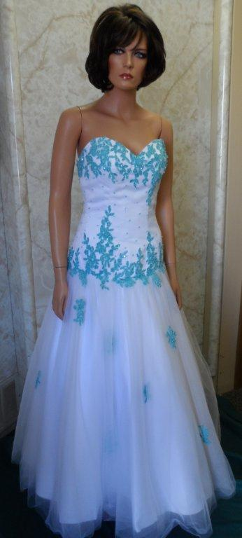 Turquoise applique Prom dress