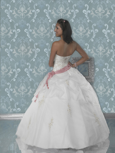 ivory and pink ballroom dress
